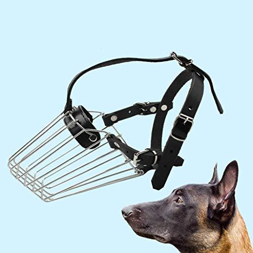 Lloow Hundemaulkorb Panier en Acier Inoxydable Pet Mask pour Shepherd Malinois et Le Couvercle de la Bouche Rottweilers pour Mordre Chewing Barking