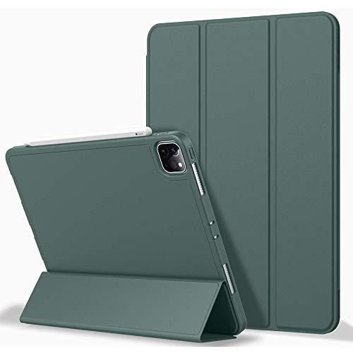 Hülle für i-Pad Pro 11 2020/2018, i-Pad Pro 11 Hülle mit Stifthalter (2nd Generation), Premium Schutzhülle mit weicher TPU-Rückseite und Auto Sleep/Wake Funktion für i-Pad Pro 11 (Green)