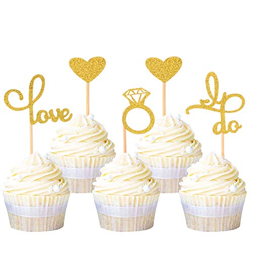 Wedding Bridal Shower Cupcake Toppers- Gold Glitter Diamond Ring Love I Do Heart Cupcake Topper Picks for Wedding Engagement Bridal Shower Bachelorette Party Decoration (24 Pcs)