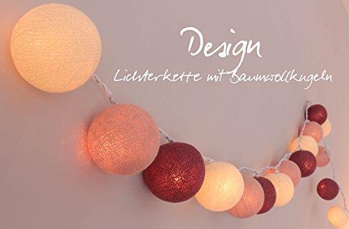 CREATIVECOTTON LED Lichterkette mit Cotton Balls inkl. Timer und Dimmer (Rosengarten, 35 Kugeln)