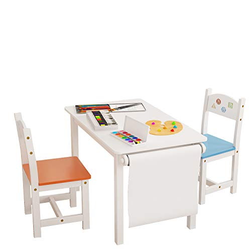 Homfa Kids Wooden Table and 2 Chair Set, 3-in-1 Kids Toddler Furniture Set Craft Table with Drawing Paper Rack for Dining Painting Reading Playroom Safe and Sturdy, White