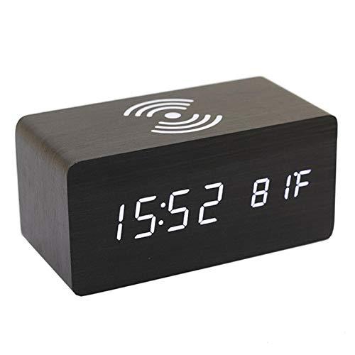 EEOO Cargador inalámbrico Reloj Despertador LED Madera Digital Sin tictac, Qi Carga inalámbrica Mesita de Noche Carga inalámbrica Reloj de Madera para dormitorios Oficina