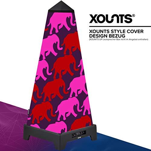 XOUNTS Style Cover 'Elephant Pink' – Anni Carlsson Special Edition Premium Flies-Cover als Zubehör für XOUNTS UP Musikanlage – Außergewöhnliches Design-Cover mit farbigen Elefanten-Motiv