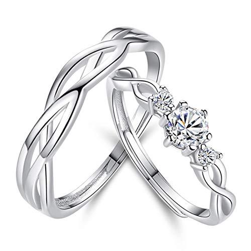 Anillos de plata para parejas, anillo de boda de plata de ley, sin níquel, tamaño ajustable, con embalaje exquisito para parejas, mujeres y niñas