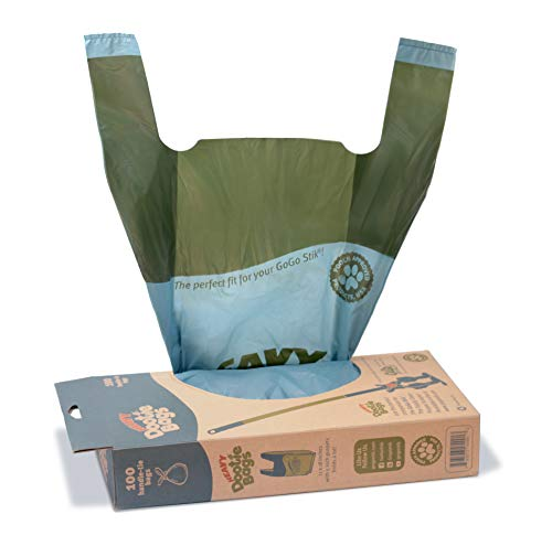 Dootie Bags (Large) and Heavy Dootie Bags (Very Large), 100 Count Large Dog Waste Poop Bags with Tie Handles and Gussets. Design fit for your GoGo Stik pooper scoopers.