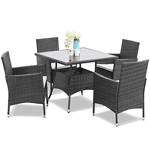Wisteria Lane Outdoor Furniture 5-Piece Wicker Patio Dining Table and Chair Set,Square Tempered Glass Table Top with Umbrella Hole for Backyard,Grey