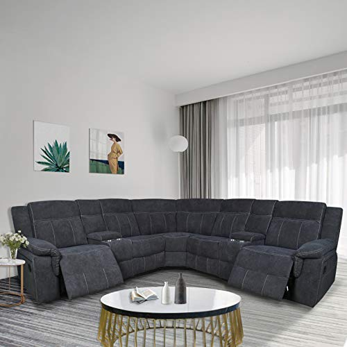 Pannow Symmertrical Reclining Sectional Sofa Sectional Sofa Power Motion Sofa Living Room Sofa Corner Sectional Sofa with Cup Holder, Grey Fabric
