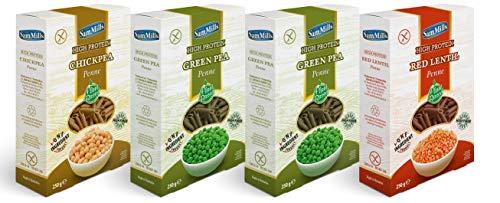 Sam Mills – Probierpaket glutenfreie Nudeln | 2x grüne Erbsen-, 1 x Kichererbsen- und 1 x rote Linsen - 4 x 250 g Penne Kennenlernpaket