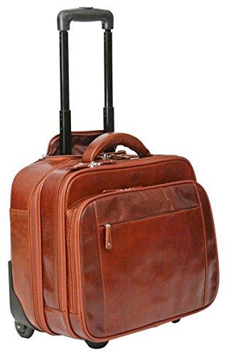 S Babila - Maleta de mano - Bolsa de viaje con compartimento para portátil - Cuero - Coñac