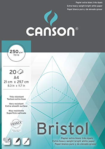 Canson 200457120 Bristol Zeichenkarton, A4, hochweiß