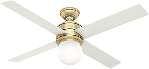 "popular Hunter Hepburn Indoor Ceiling Fan online with outlet sale LED Light and Wall Control, 52"", Modern Brass outlet sale"