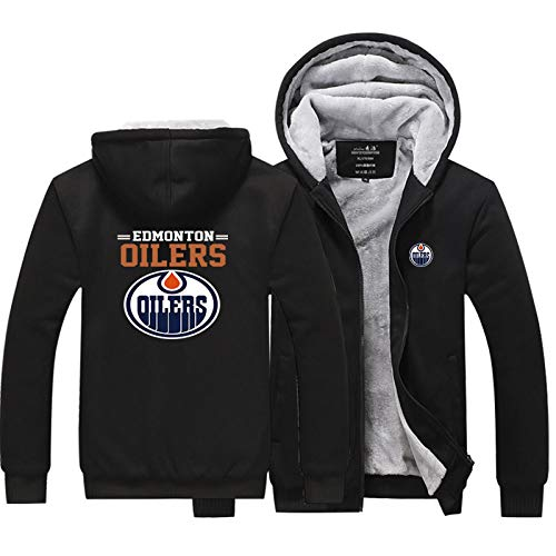 MILAOSHU Herren Pullover NHL Hockey Trikot Edmonton Oilers Hoodie Sweatshirt T-Shirt Herbst Und Winter Thermal Casual Outwear (Größe S-5XL