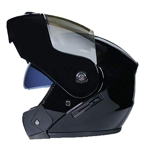 Roofeel Casco de Motocicleta Protección con Doble Visera Clásico Flip up Moto Cascos Deportiva Casco Integral (Negro#3, 58-59 cm)
