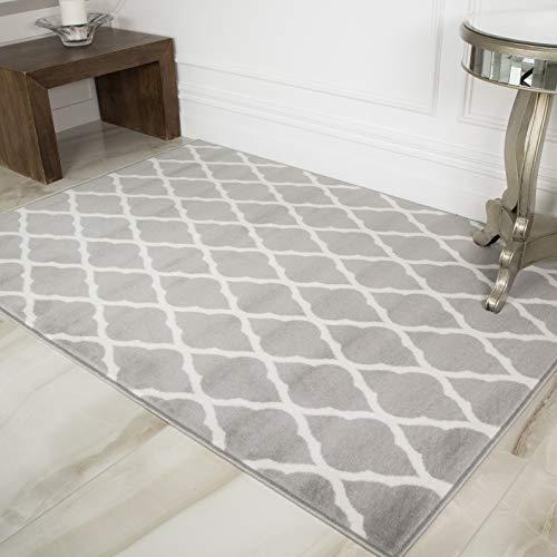 Milan Soft Touch Grey Brown Taupe Classic Grey Trellis Geometric Print Rug 160 cm x 230cm
