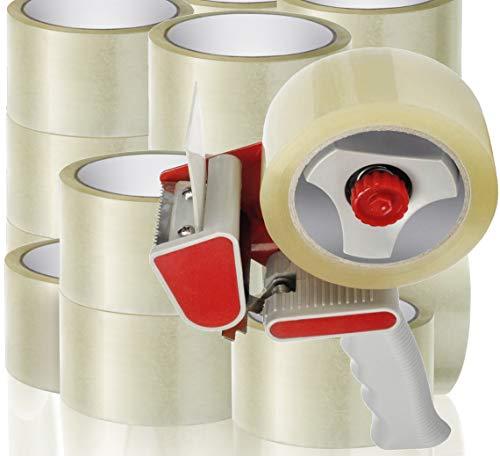 Klebeband Packband Paketband Paketklebeband transparent 50 mm x 60 Meter 20 Rollen strong 1 Handabroller