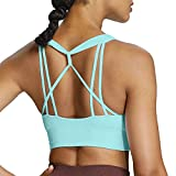 Aoxjox Women's Workout Ribbed Seamless Sports Bras Fitness Running Yoga Crop Tank Top (Blue, Small)