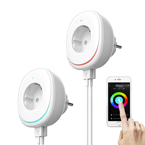 WLAN Smart Steckdose mit Nachtlicht - WiFi Smart Steckdose mit Dimmbarer RGB Nachtlicht und USB Port Kompatibel Alexa, 2 Packs Smart Steckdose mit App Fernsteuerung Google Home und IFTTT, IOS Android