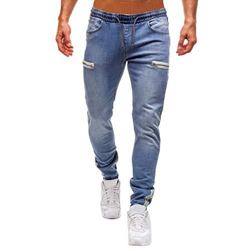 Jeans Herren mit Jogginghosen Reine Farbe Denim Baumwolle Vintage Wash Hip Hop Arbeit (XL,Blau)