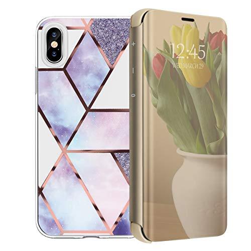 Hoes compatibel met iPhone XS MAX telefoonhoes, doorzichtig TPU silicone case cover met patroon design en flip Smart View met standaard functie beschermhoes voor iPhone XS MAX 2 stuks