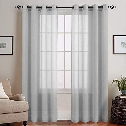 TOPICK Voile Vorhang Mit Ösen Transparent Gardine Gaze Paarig Ösenschals für Duschzimmer 145 x 140 cm (H x B) 2er Set