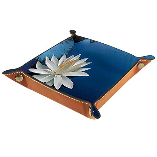 Bandeja de almacenamiento de cuero,bandeja de bolsillo,bandeja de valet,contenedor de bandeja de joyería,Lotus Flowers White Art ,plato