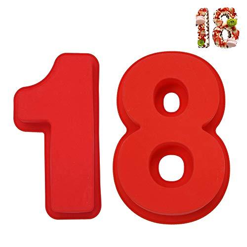 REYOK Kuchenform Silikon Zahlen Große Anzahl 18 Backform Backen Geburtstag Jubiläum Geburtstagstorte 10'',2pcs Kuchenform Backen Geburtstag Jubiläum