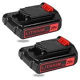 Dasnite 2Pack 2500mAh 20V LBXR20 Replacement Battery for Black and Decker 20V Lithium Battery LBXR20 LBXR20-OPE LB20 LBX20 LBX4020 LB2X4020 LB2X4020-OPE