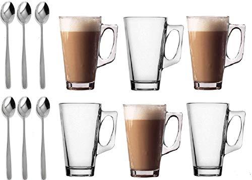 LETTUCE EAT® Juego de 6 vasos de cristal de café para té, tazas de café y cafetería para bebidas calientes, tazas...