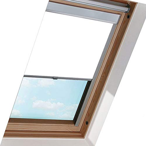 Dachfensterrollo für Dachfenster 206, Weiß 50.7 * 97.4cm, Thermo-Rollo, Silberner Aluminiumrahmen, Hochqualitative Wertarbeit