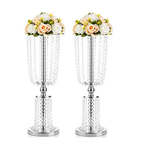 2 Pcs 23.75 inches Tall Crystal Metal Vase Flower Stand Holders Wedding Centerpiece Chandelier for Reception Tables Wedding Supplies