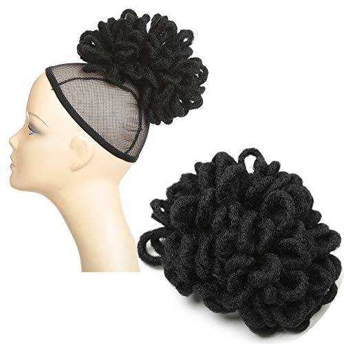 Moreyoungc Dreadlocks Crochet Braiding Hair Bun Wig Extensions Africa Style Braiding Curly Wavy Synthetic Chignon Ponytail Hairpiece Scrunchie Scrunchy Clip in/on Updo Hairpiece for women (1#)