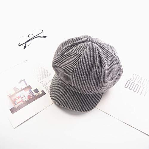 mlpnko Retro Cord Kappen für Männer und Frauen Britische achteckige Baskenmützen Han Maler Hut grau Code