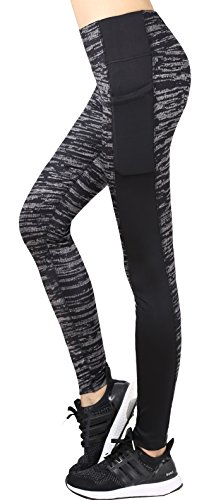 Neonysweets Women's Workout Leggings with Pocket Running Yoga Pants Gray Printed S