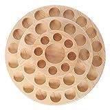Sugeryy Présentoir rond rotatif en bois naturel pour bouteilles d'huiles essentielles à 3 niveaux pouvant contenir 5, 10 ou 15 ml (huiles essentielles).