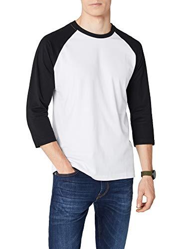 Urban Classics - Bekleidung T-Shirt, Maglia a maniche lunghe Uomo, Multicolore (Wht/blk), Small (Taglia Produttore: Small)