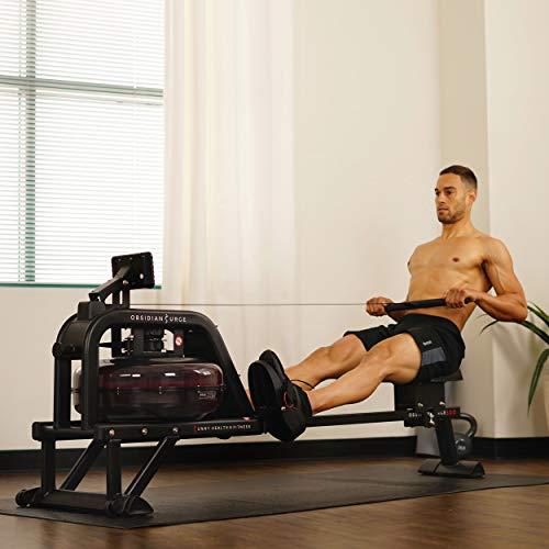 Sunny Health & Fitness Obsidian Surge 500 Water Rowing Machine - SF-RW5713 , Black