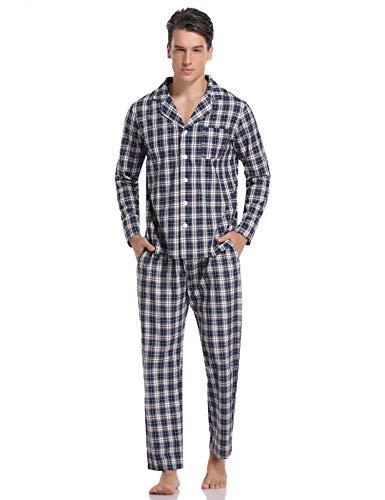 Hawiton Pijamas Hombre Invierno Algodón Pijama Manga Larga