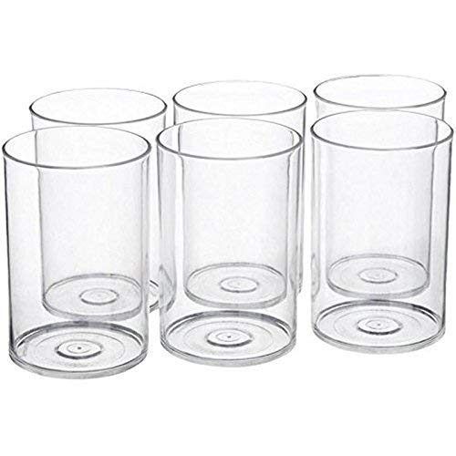 NOVEL Multi Purpose Unbreakable Drinking Glass Set of 6 Pieces, ABS Poly Carbonate Plastic,300 ml Capacity Each, Clear Glass (Unbreakable)