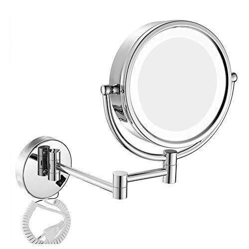 QJUZO Espejo Maquillaje con Luz LED Aumento 10X, Espejo de Mesa con Doble Cara Rotación de 360°, Escalable Espejo de Baño con Enchufe, para Baño, Tocador, Hotel