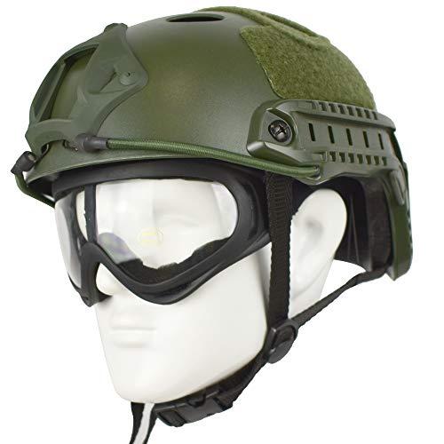 QHIU Casco táctico Multifunción Tipo de PJ Protección Ligera Casco rápido SWAT Combat y Gafas Herramienta de Bolsillo para Airsoft Paintball Deportes al Aire Libre
