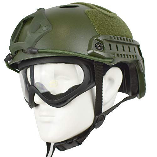 QHIU Taktisch Helme Armee Militär Combat PJ Typ Fast Schutzhelm mit Schutzbrillen Schnelle Helm für Airsoft Paintball SWAT CS-Game CQB (OD+X400)