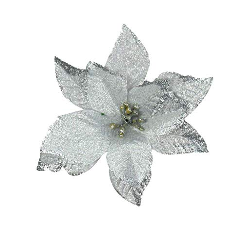 jieGorge Artificial Fabric Flower Glitter Wedding Party Decor Christmas Xmas Tree Decoration, Home Decor, Products for Christmas (Silver)