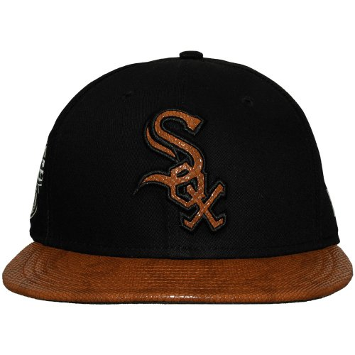 New Era - Casquette Snapback Homme Chicago White Sox 9Fifty FR Leather Visor - Black/Brown - Taille S/M