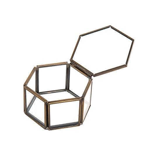 Feyarl Pequeña caja de joyería de cristal adornada anillo pendiente caja conservada caja de cristal organizador caja decorativa con tapa para aparador de boda Deco(latón)