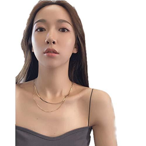 ZAZA Collares Mujer Hombre Collar Doble de Hueso de Serpiente, Collar de clavícula de aleación Dorada de Damas, Regalo del día de San Valentín/día de la Madre Gold-Rose Gold (Color : Gold)