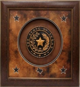 Antique and Historic Art - Texas Seal SHADOWBOX - 24x24 INCHES by Wall Art Giant