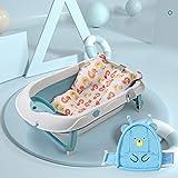 ZDK Baignoire pliable pour douche de bébé avec coussin antidérapant, filet et lit