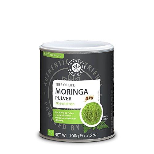 Taste Nature Bio Moringa Pulver Tree of Life Cleansing Aminosäuren & Chlorophyll Vegan, 100 g