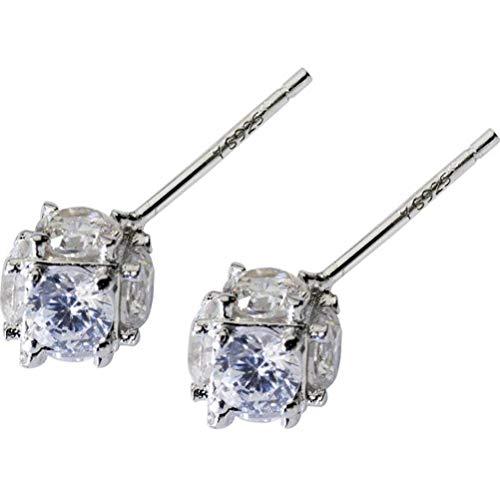 WOZUIMEI S925 Pendientes de Plata Mujer Coreana Dulce Diamante Completo Taladro Geometría Cuadrados Adornos de Anillo de Oreja Pluralidad Estilo JoyeríaPlata 925, Estilo grande