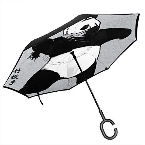 Bambus-Regenschirm Banksy Panda, doppelschichtig, umgekehrt, faltbar, über den Boden geklappt, C-förmige Hände – leicht und Winddicht